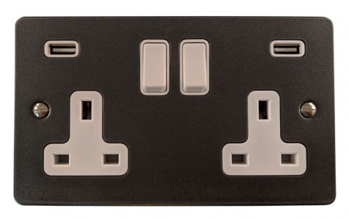 G&H FP910W Flat Plate Pewter 2 Gang Double 13A Switched Plug Socket 2.1A USB